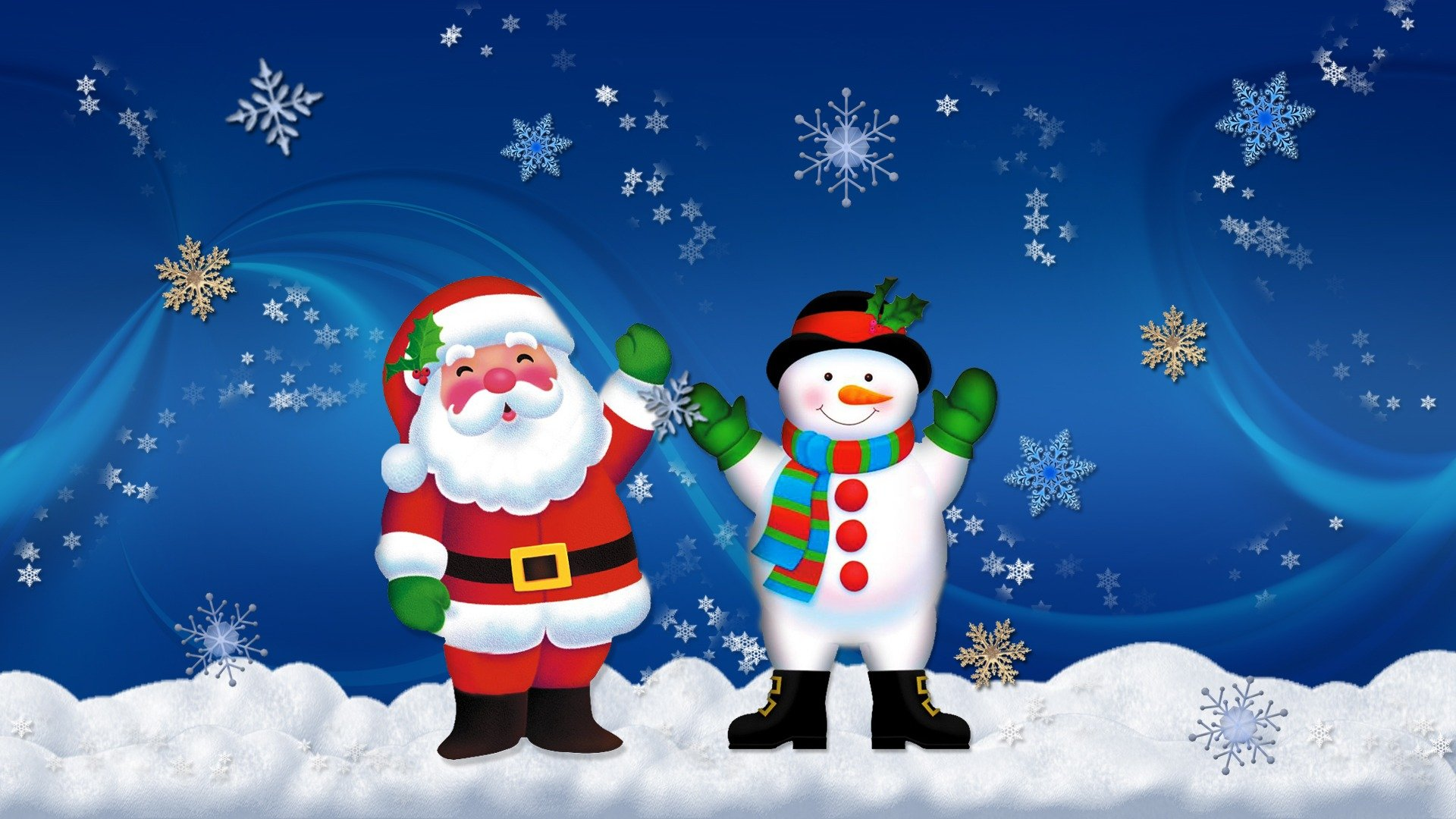 Santa and snowman wallpapers Santa and snowman stock photos 1920x1080