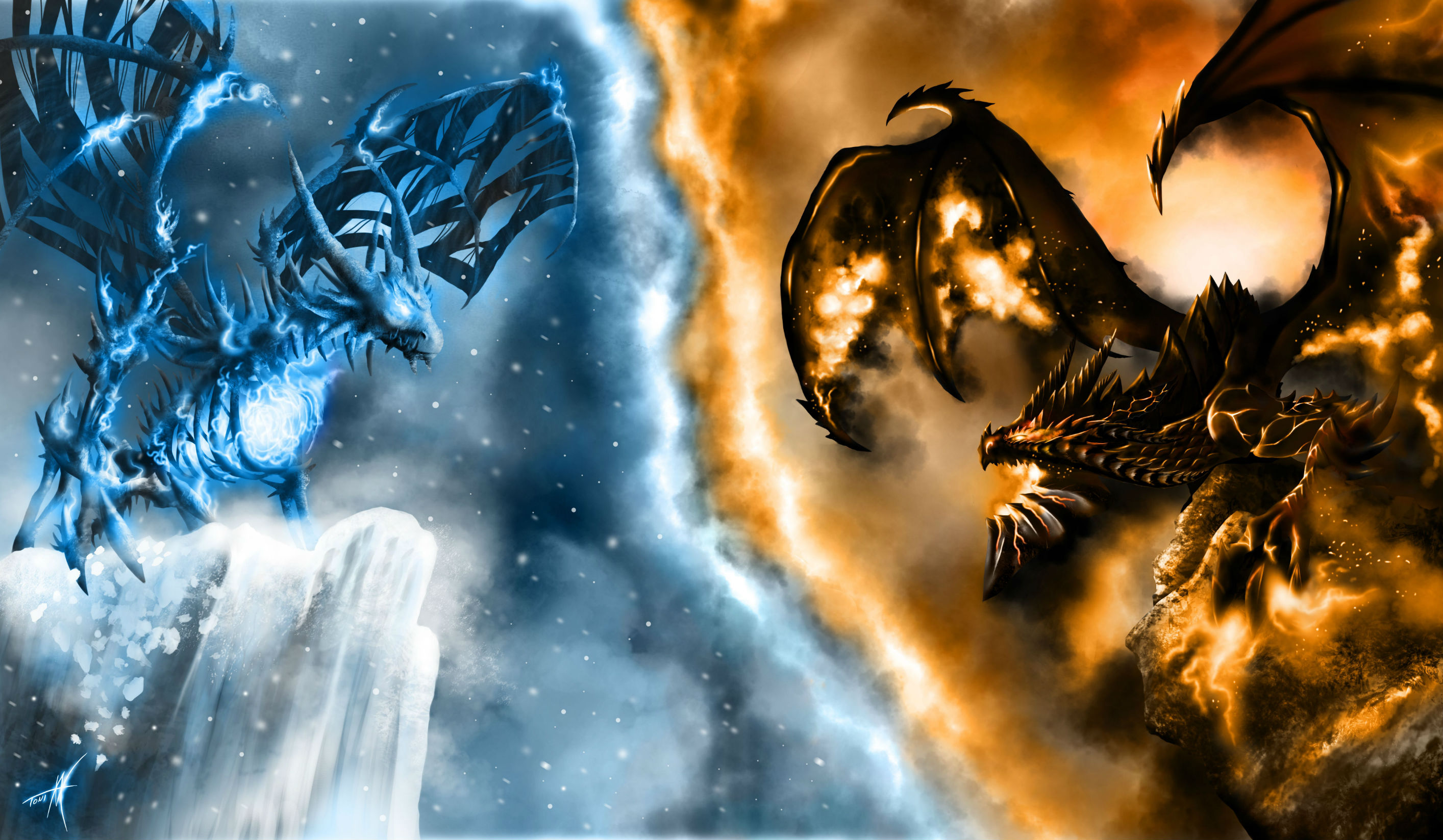 of WarCraft WoW Dragons Fire Snow Games dragon ice fantasy wallpaper 2828x1647