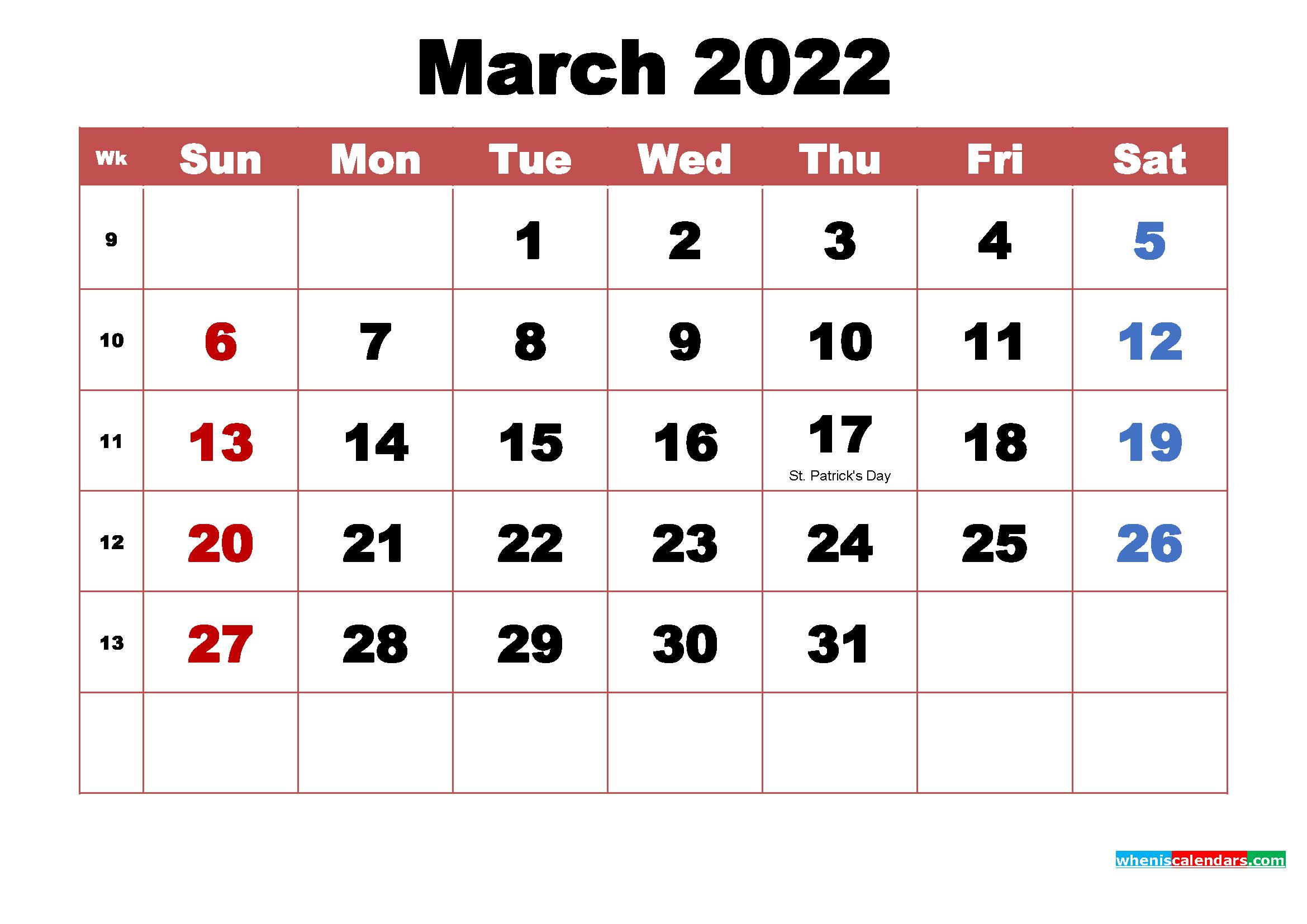 March 2022 Calendar Wallpaper High Resolution 2339x1654