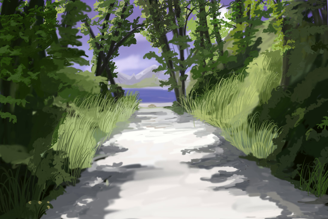 Forest Path Anime Background by wbd 1095x730