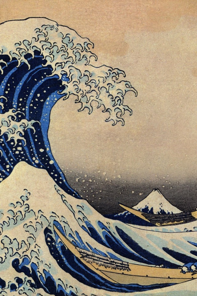 Katsushika hokusai thirty six views of mount fuji wallpaper 640x960