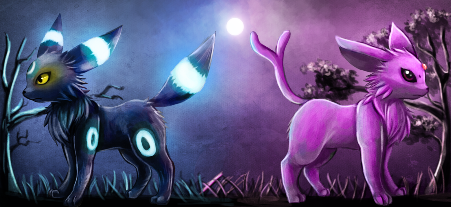 Umbreon and Espeon by Deruuyo 900x414
