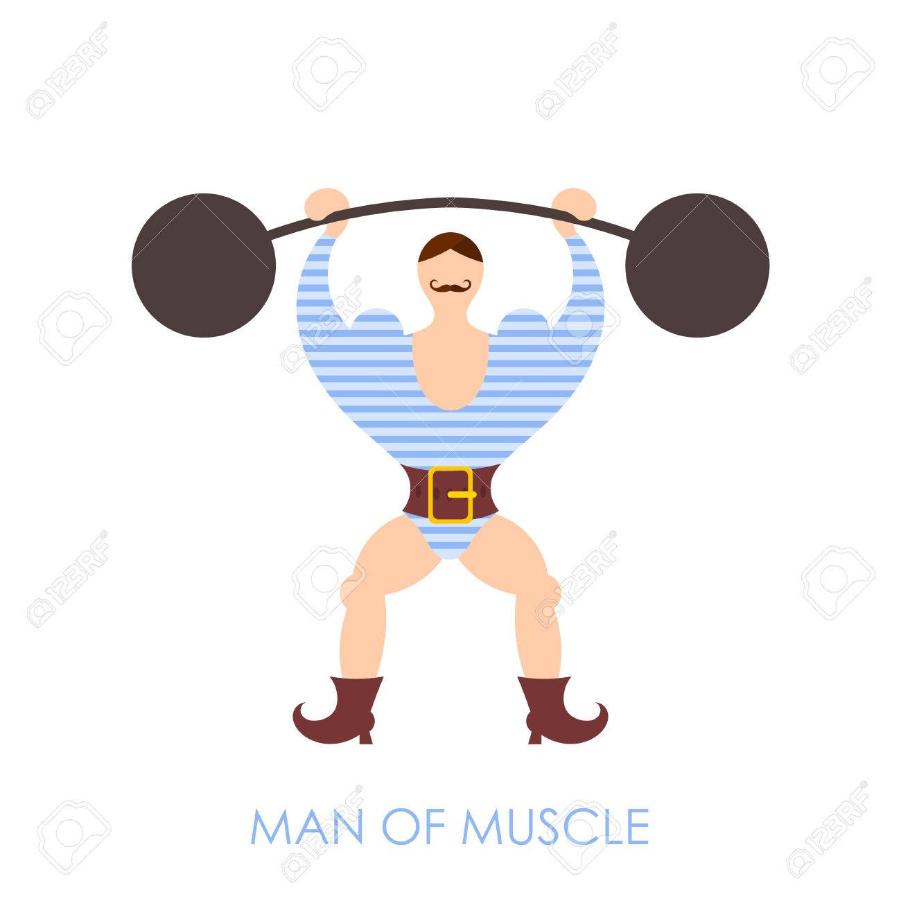 The Flat Image Of A Circus Strongman With Barbell On A White 1300x1300