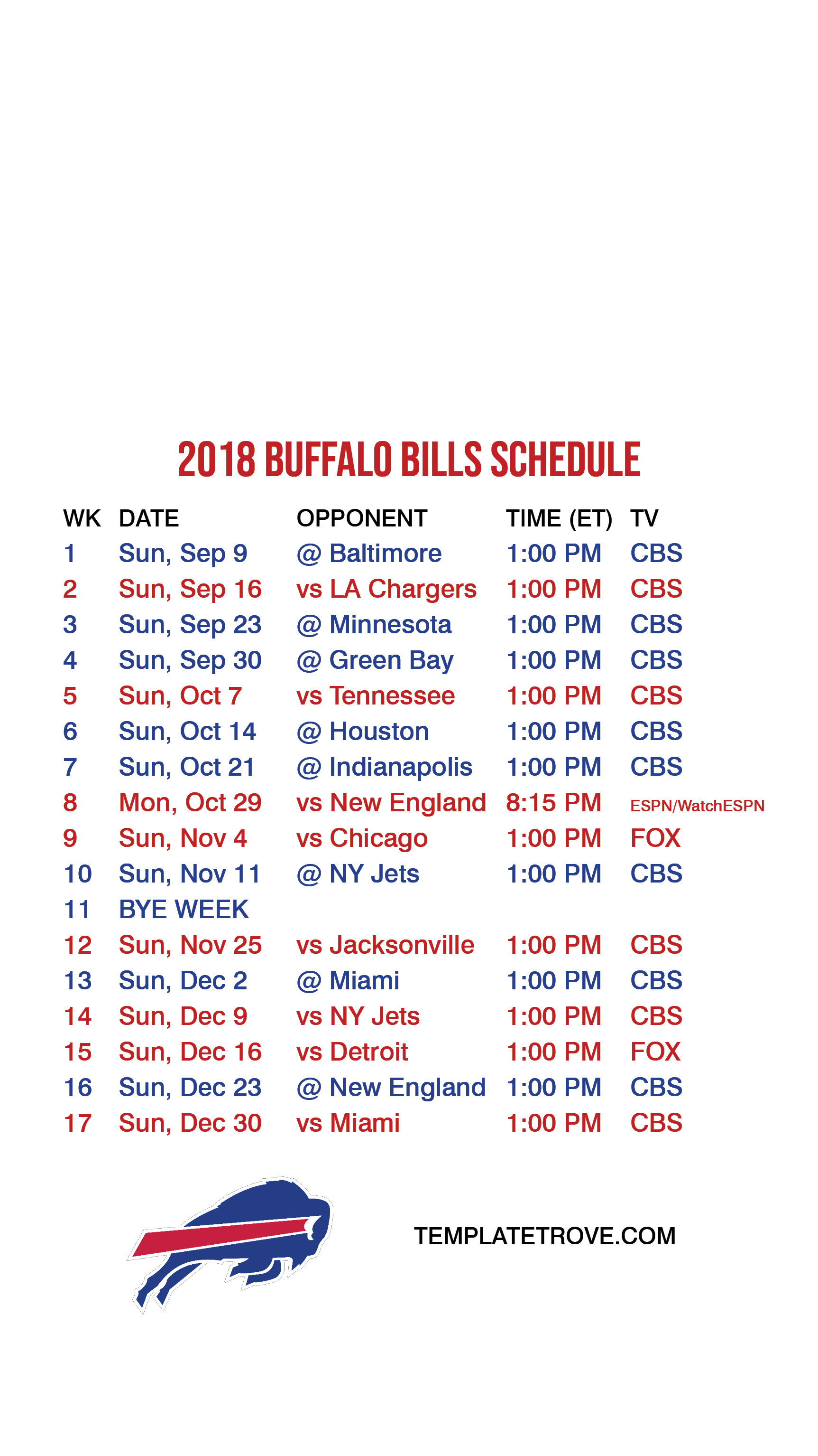 2018 2019 Buffalo Bills Lock Screen Schedule for iPhone 6 7 8 Plus 1725x3067