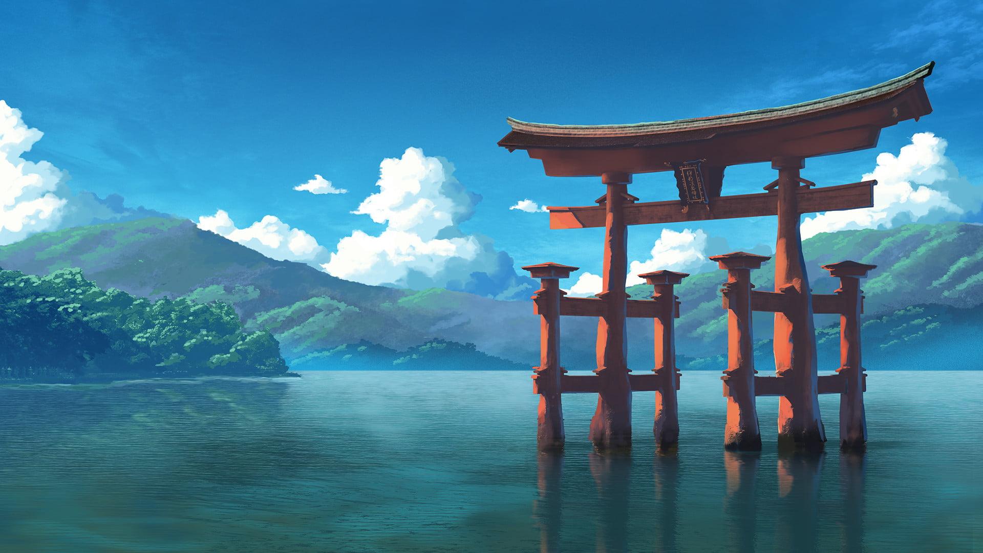Tori gate digital wallpaper shrine water mountains clouds HD 1920x1080