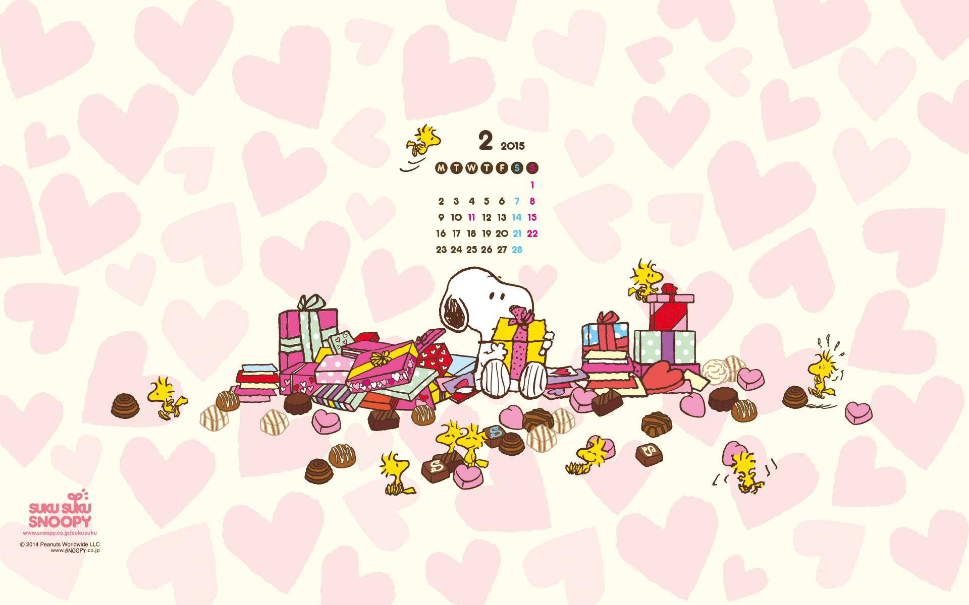 3 Snoopy February 2015 Wallpaper Calendar 1911 Peanut Snoopy 1920x1200