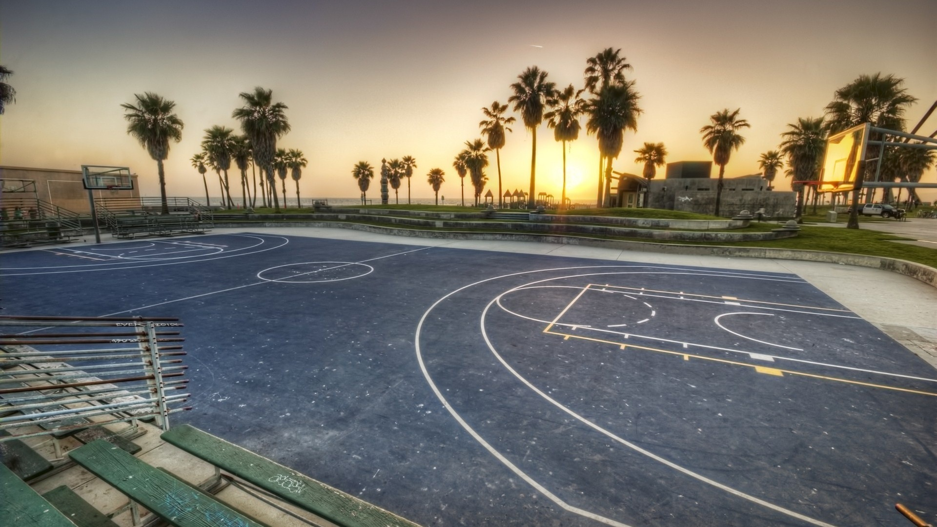 Download 1920x1080 La Sunset Los Angeles California Basketball 1920x1080