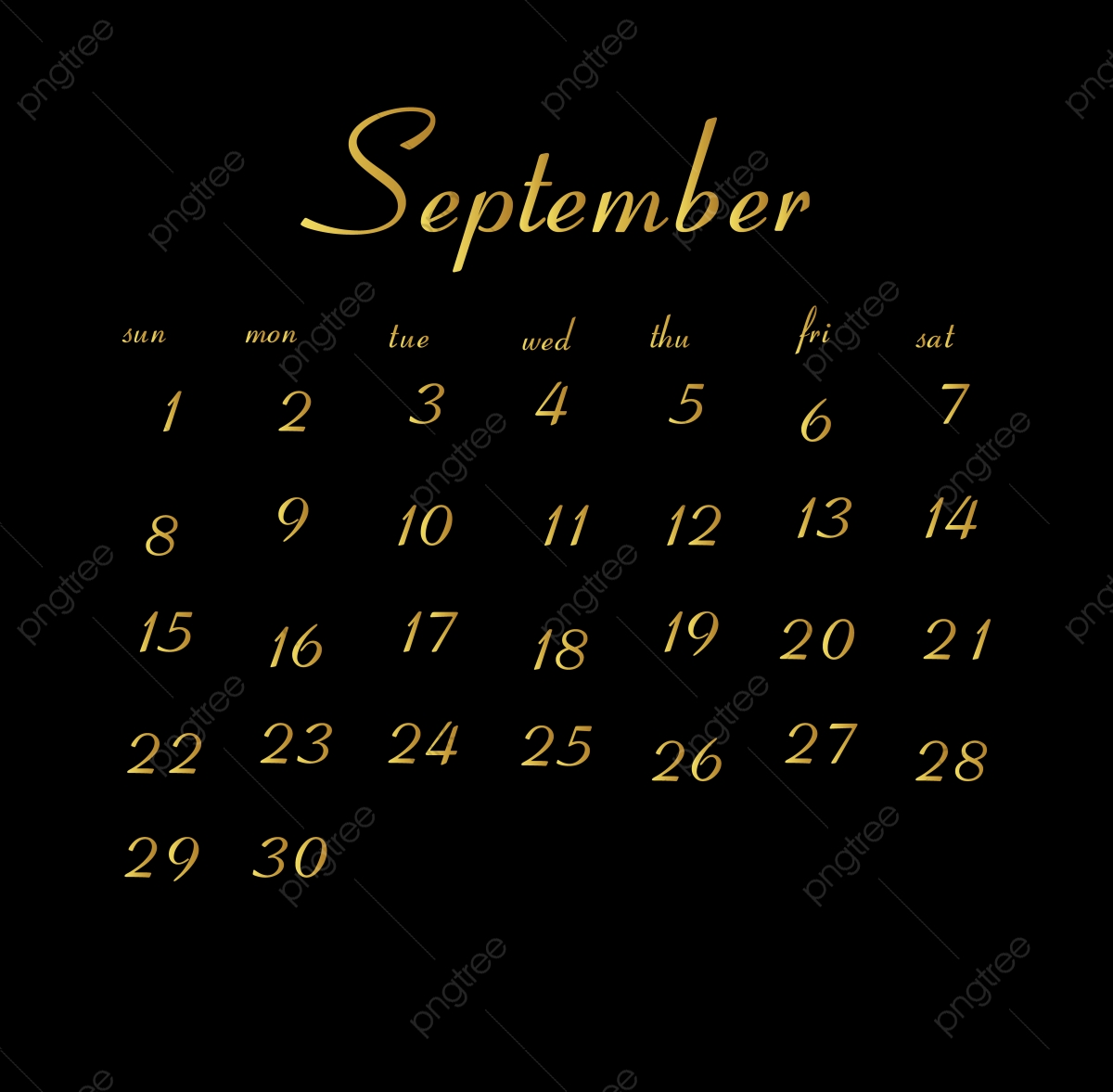 September 2019 Calendar Calendar Clean White PNG and Vector 1200x1177