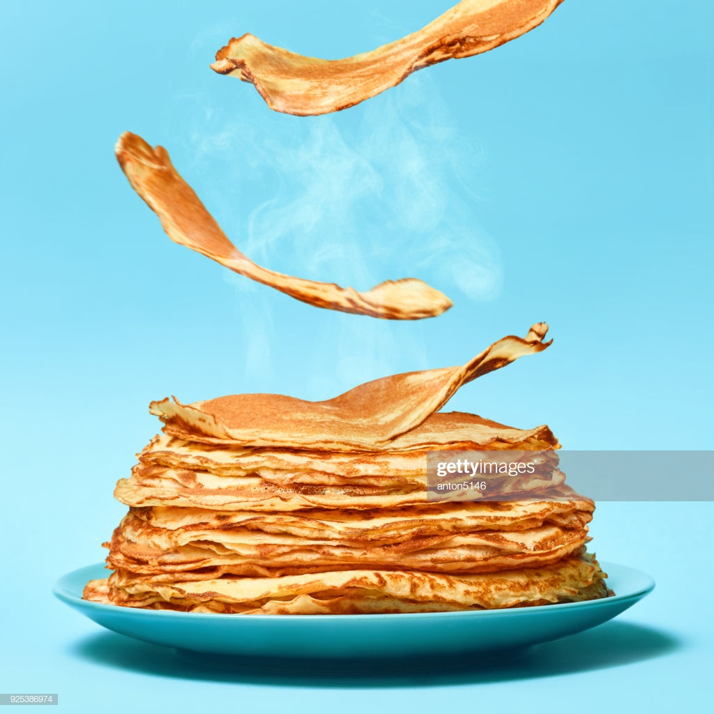 French Pancakes Is Flying On The Blue Background High Res Stock 1024x1024