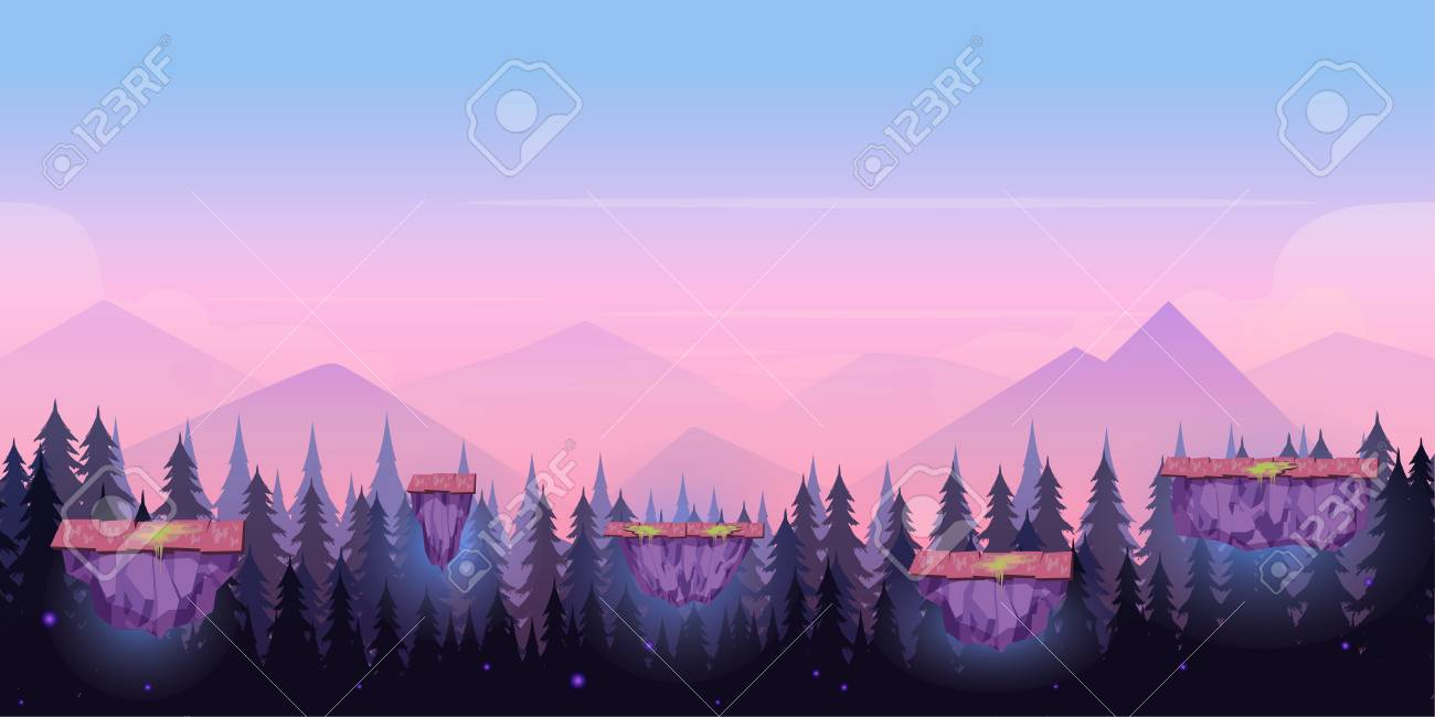 Cartoon Night Game Background Seamless Background For Games 1300x650