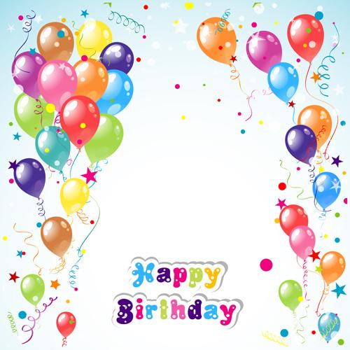 EPS file Balloon ribbon happy birthday background material 01 500x500