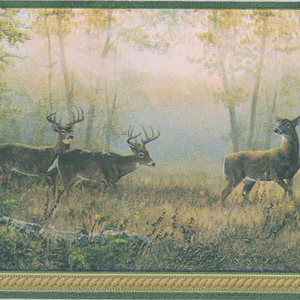451 1782 Green Scenic Deer   Brewster Wallpaper Borders 600x600