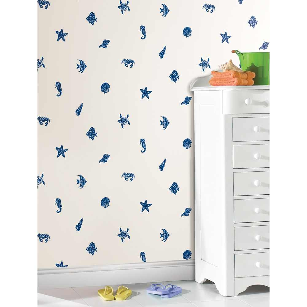 Removable Wall Decals   Coast is Clear Wallpaper   White Navy I Wall 1000x1000