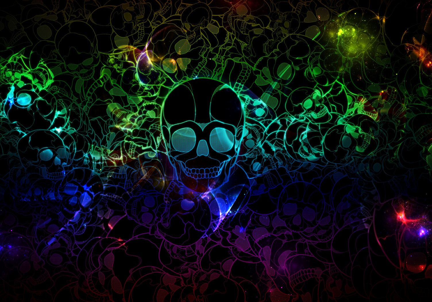 free cool custom twitter backgrounds neon skulls 1504x1054