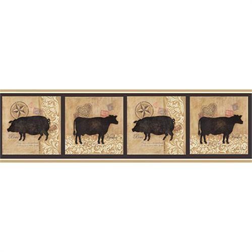 country pigs cows tile brown cream tan wallpaper border 418b80963 500x500