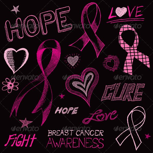 Breast Cancer Pink Ribbon Black Background Breast cancer 590x590