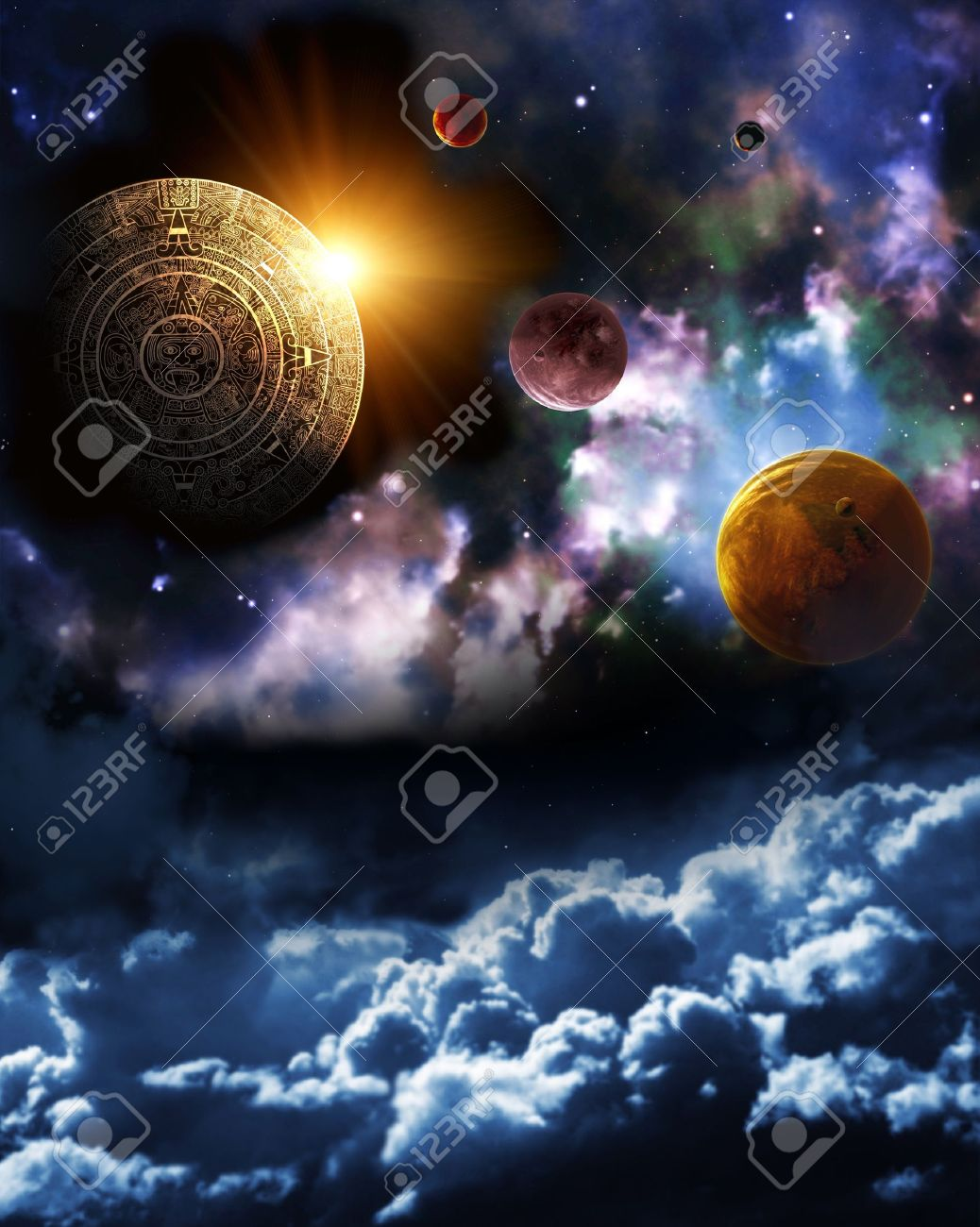 Maya Prophecy Vertical Background With Space Scene Stock Photo 1038x1300