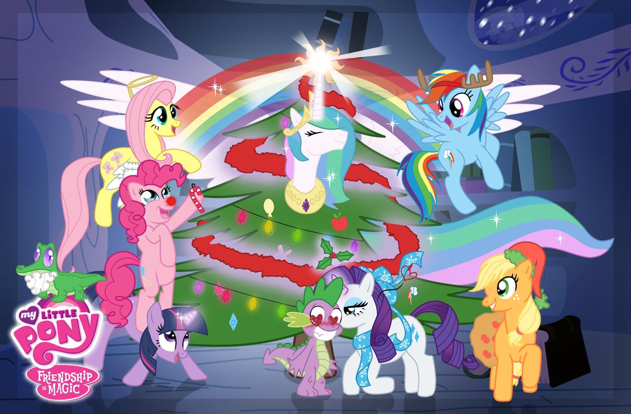 Mlp Christmas.48 My Little Pony Christmas Wallpaper On Wallpapersafari