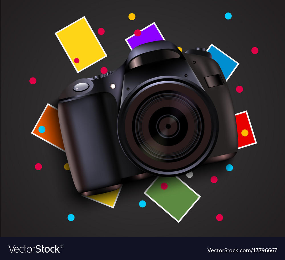 Camera and pictures photo shooting background Vector Image 1000x912