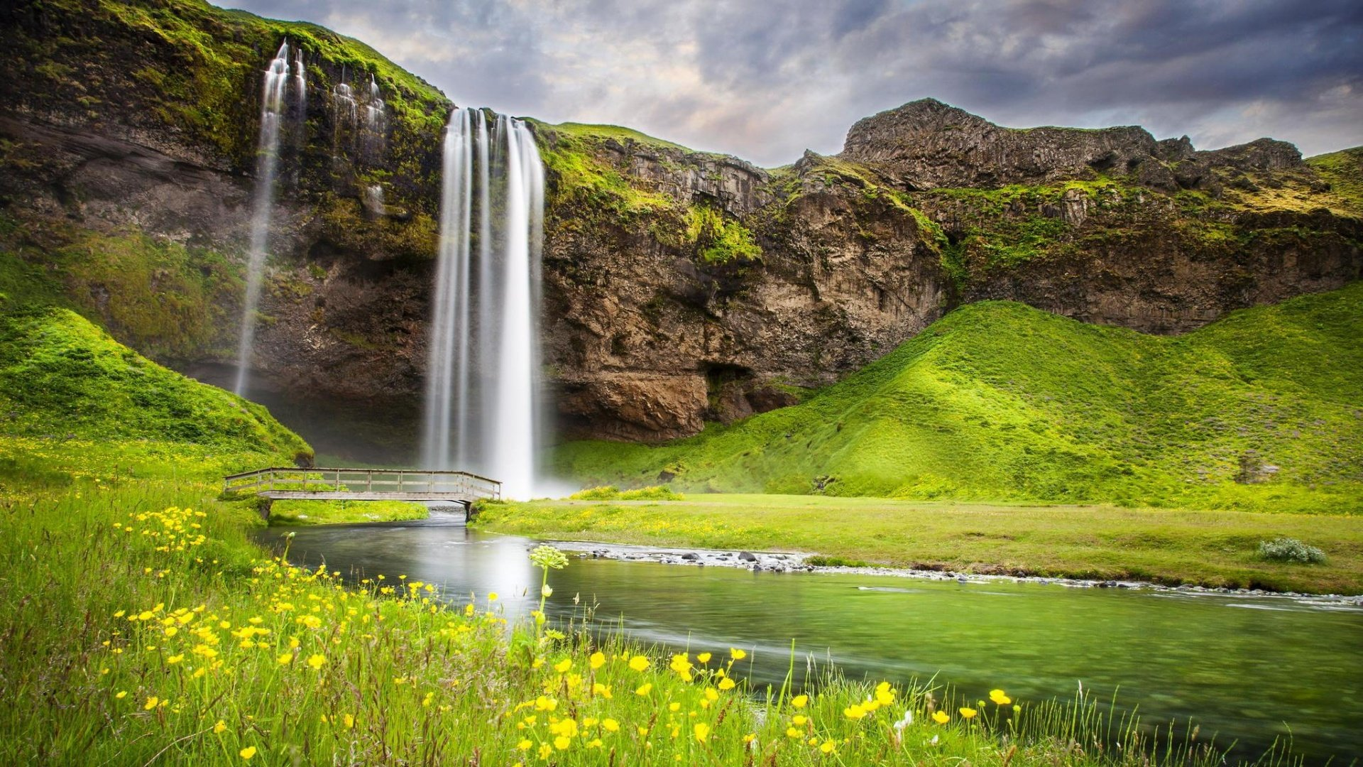Waterfall River Summer Landscape 1920 x 1080 Download Close 1920x1080