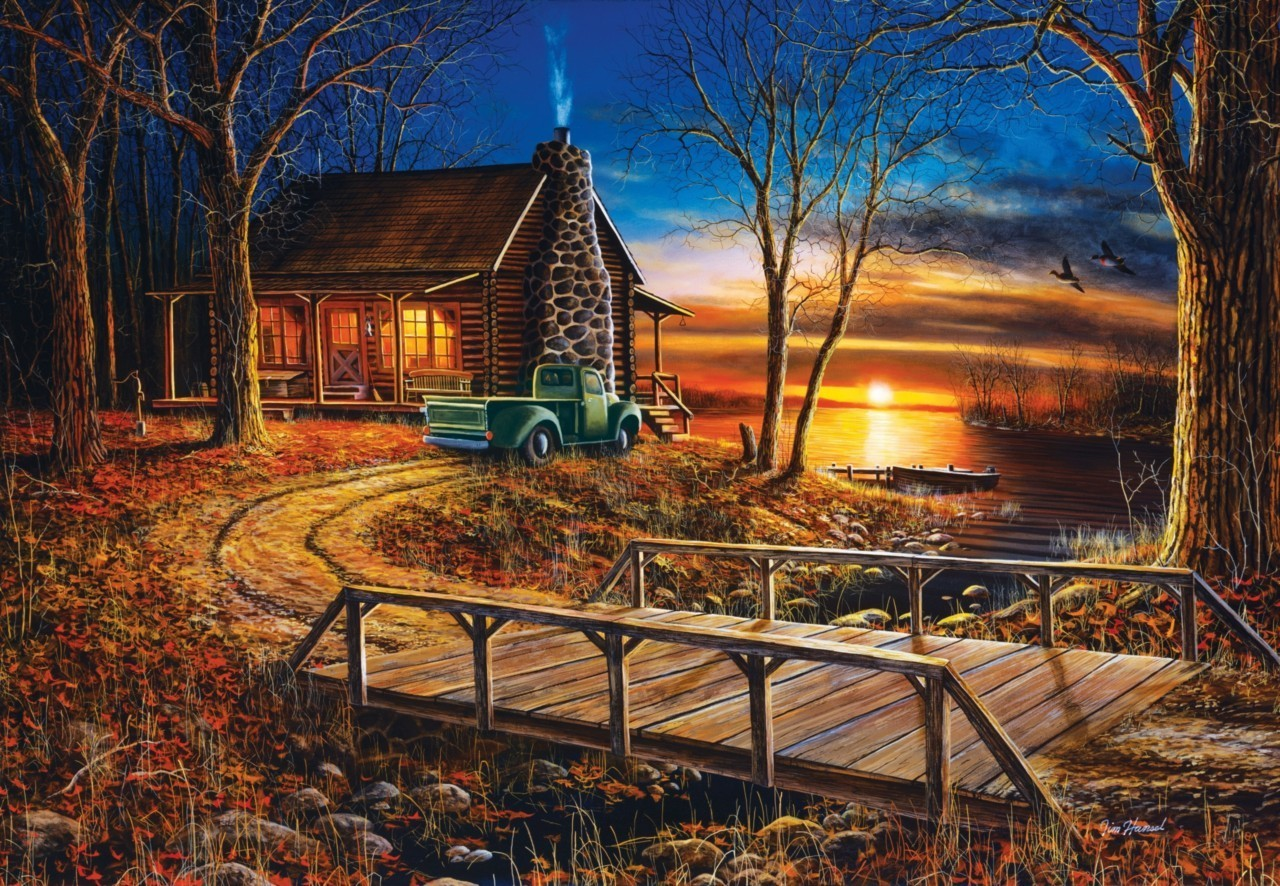 Winter Log Cabin Desktop Wallpaper