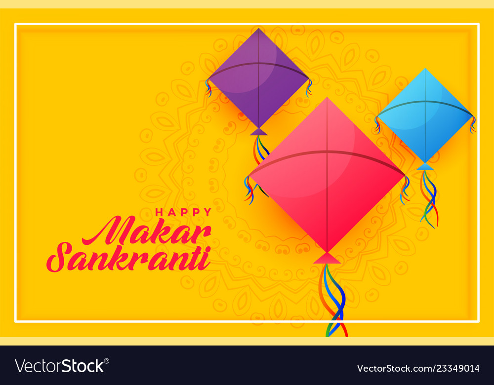 Colorful kites background for happy makar Vector Image 1000x780