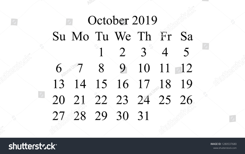 October 2019 Calendar 2019 Vector Simple Stock Vector Royalty 1500x945