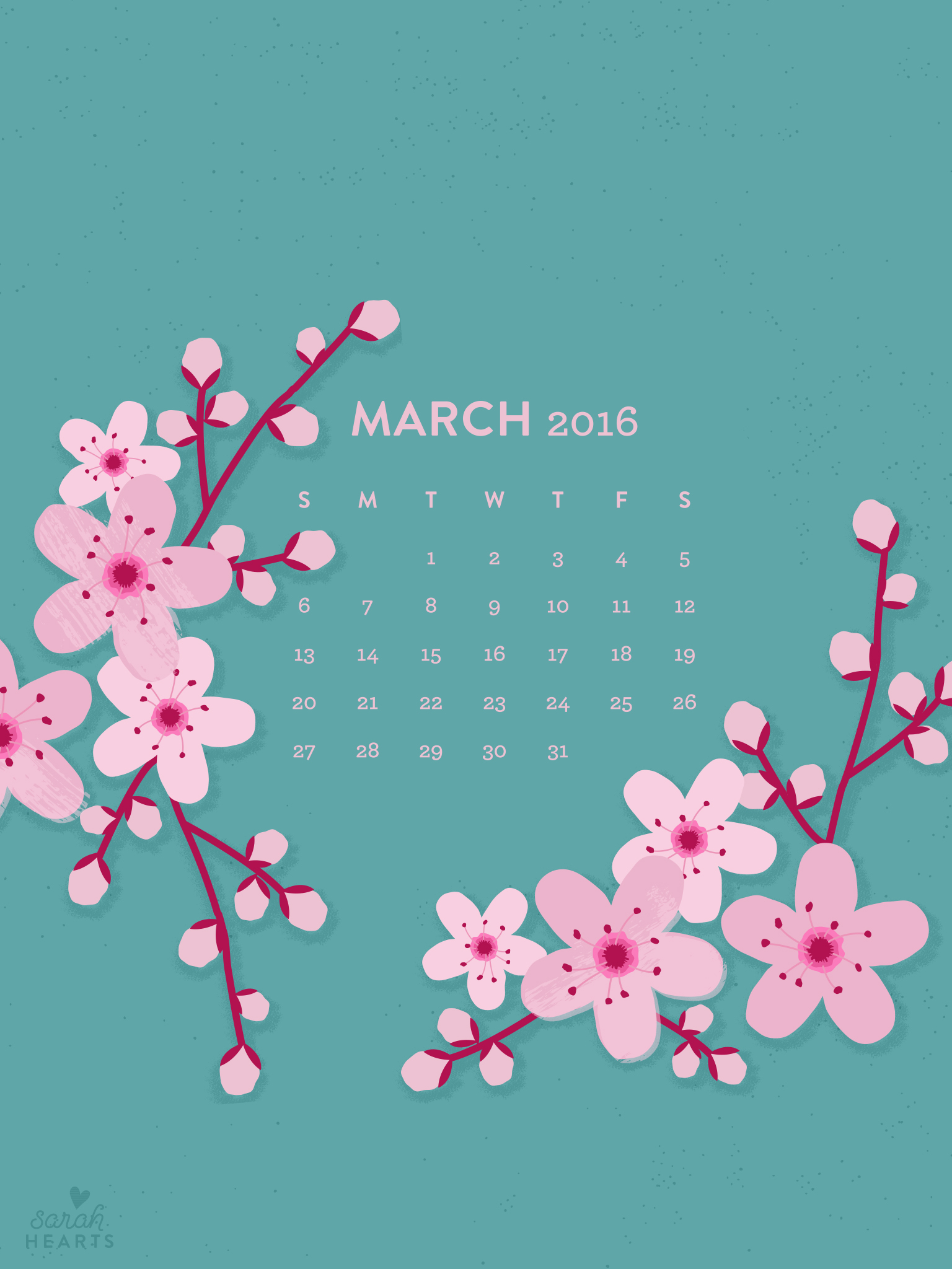 March 2016 Cherry Blossom Calendar Wallpaper   Sarah Hearts 1536x2048