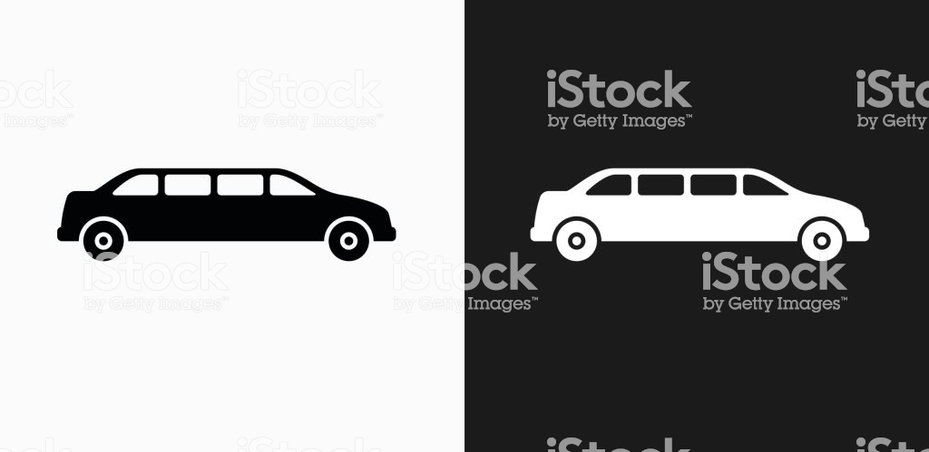 Limo Icon On Black And White Vector Backgrounds Stock Illustration 1024x499