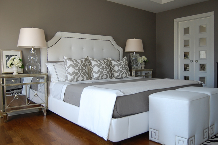 Gray Bedroom   Contemporary   bedroom   Benjamin Moore Galveston Gray 739x491