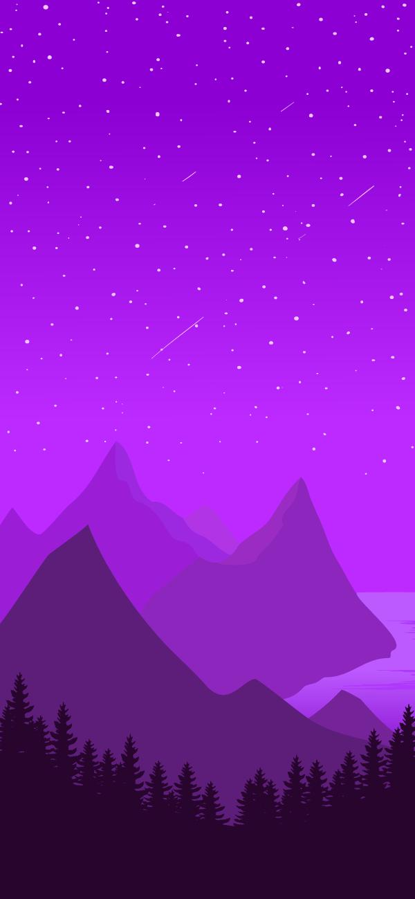 Minimalist Purple Landscape iPhone Wallpaper 600x1299