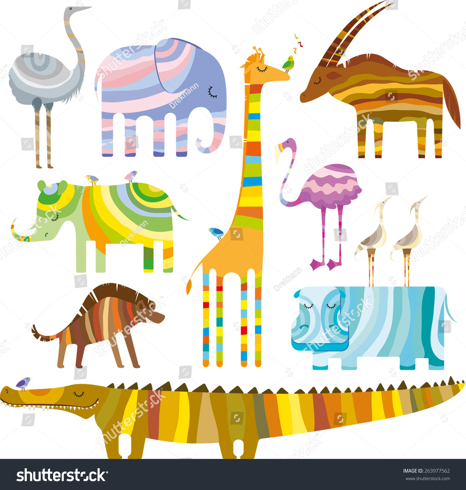 Some Colourful African Animals Dreamtime On Stock Vector Royalty 1500x1576