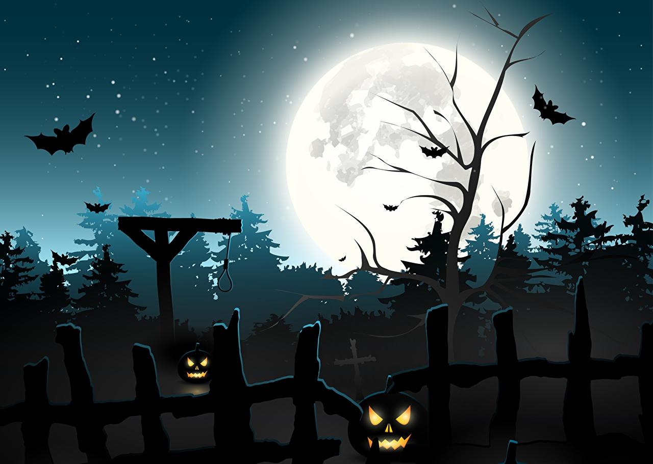 Free Download Pictures Bats Halloween Moon Fence Night Time