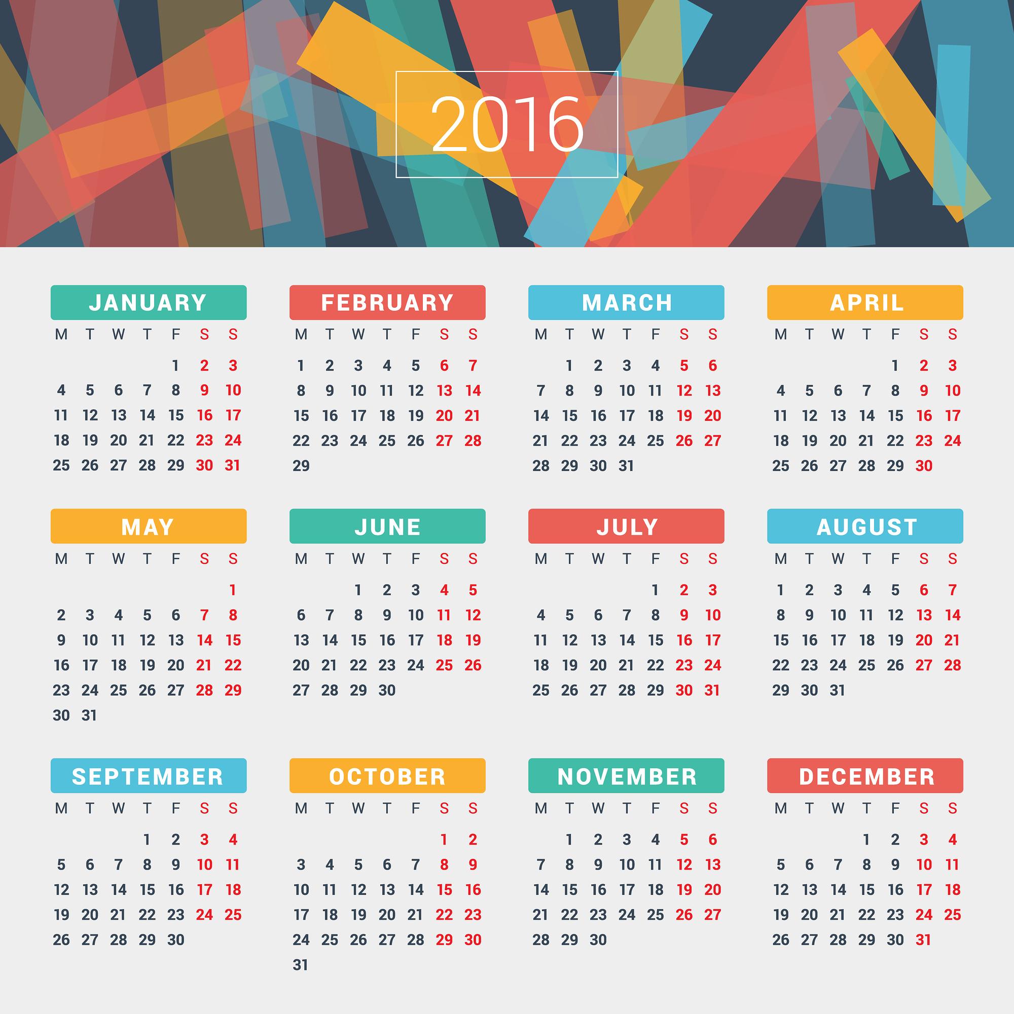 2016 Year Calendar Wallpaper Download 2016 Calendar by Month 2000x2000