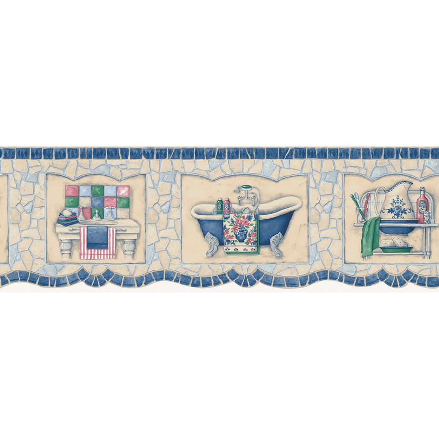 Blue Mosaic Bath Tub Prepasted Wallpaper Border at Lowescom 900x900