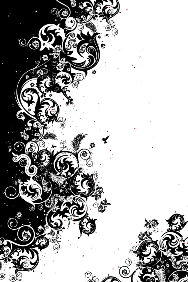 black and white flower wallpaper wallpapers55com   Best Wallpapers 640x960