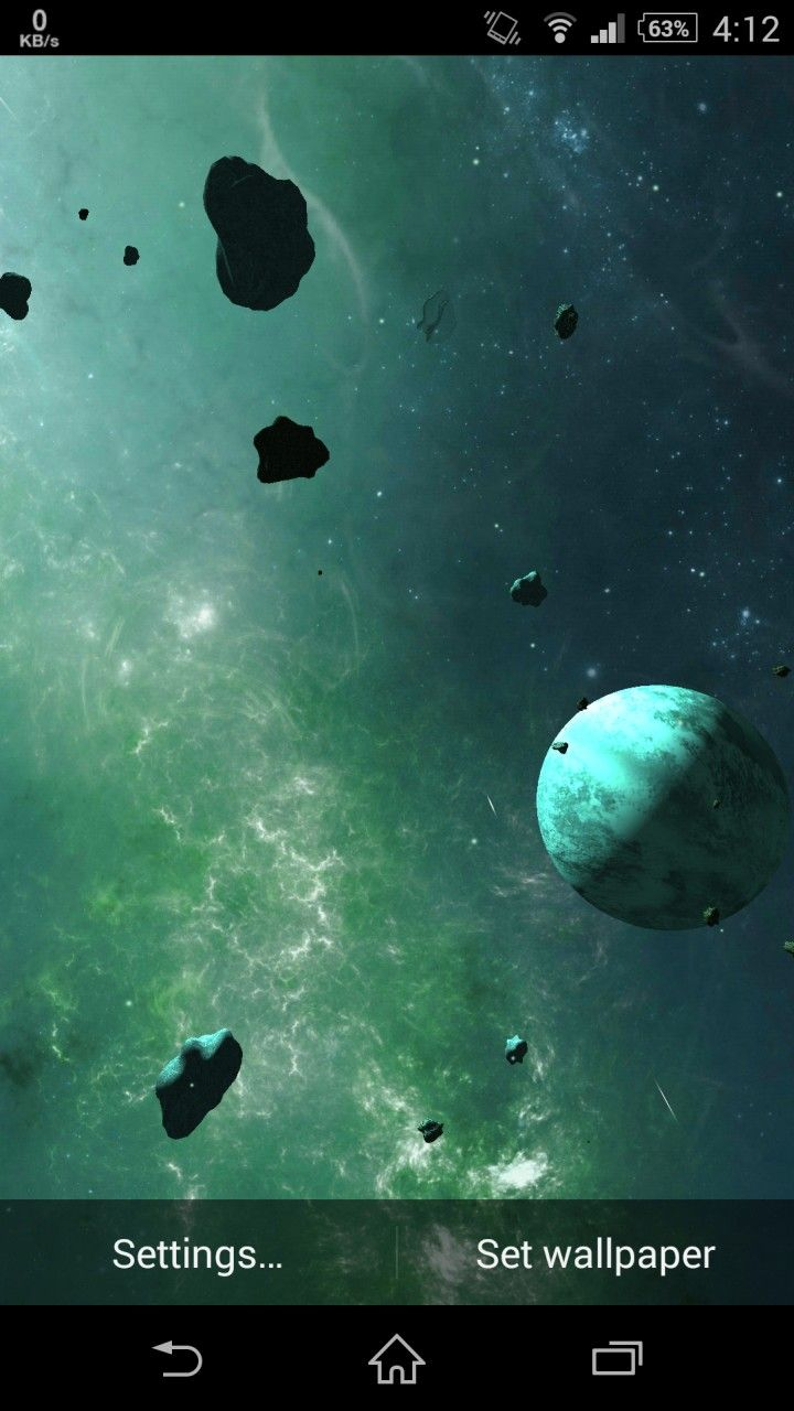 Asteroids 3D Live Wallpaper for Android   Download App 720x1280