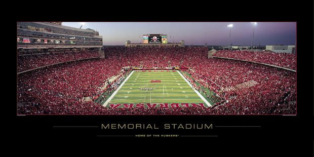 Nebraska Cornhuskers 2006 Memorial Stadium with New Scoreboard Sunset 620x310