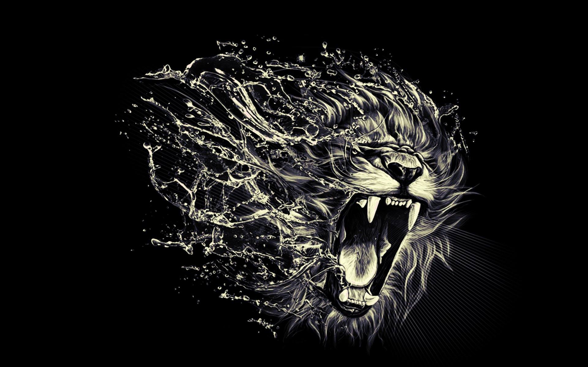 Cool Roaring Lion Wallpaper Vigorous Art 1920x1200