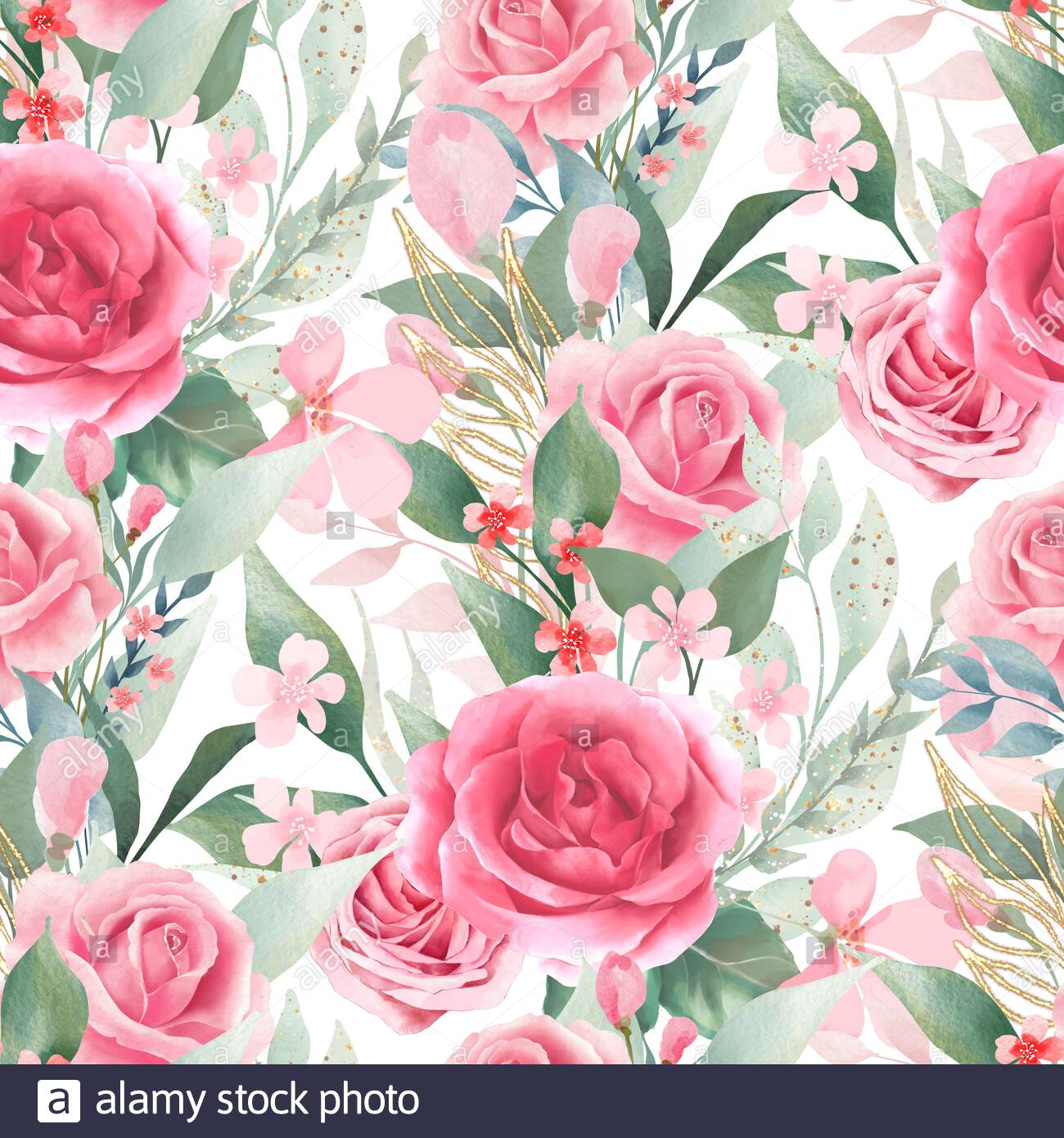 Watercolor floral backgrounds Seamless pattern with pink roses 1300x1390
