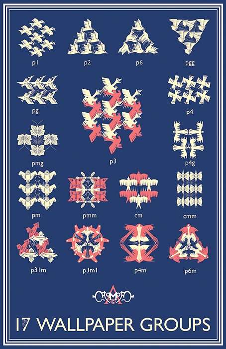 17 Wallpaper Groups by M C Escher Style 454x700
