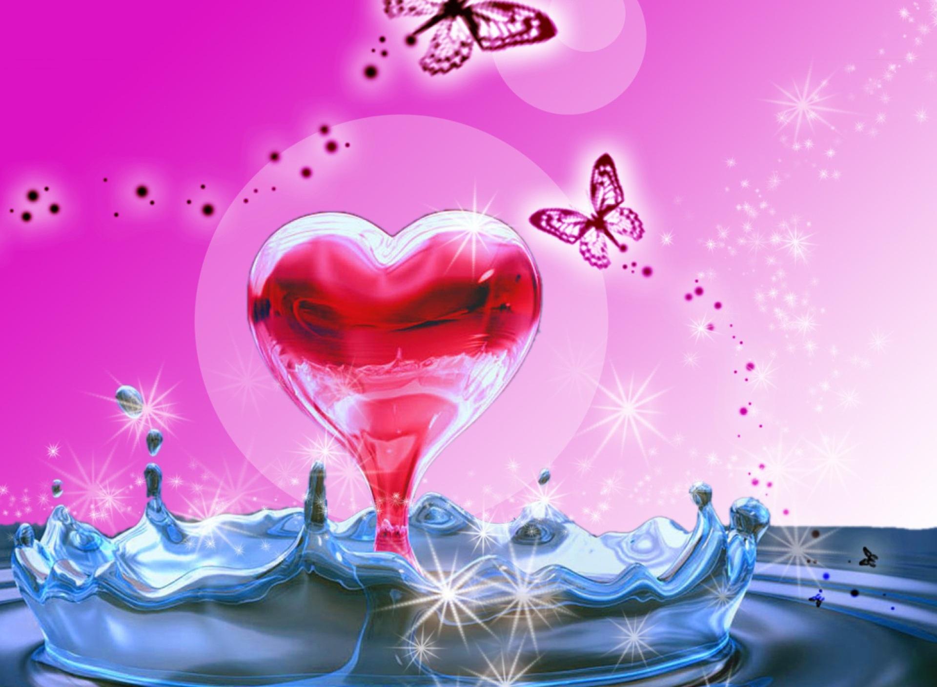 3D Heart In Water 1920x1408 wallpaper1920X1408 wallpaper screensaver 1920x1408