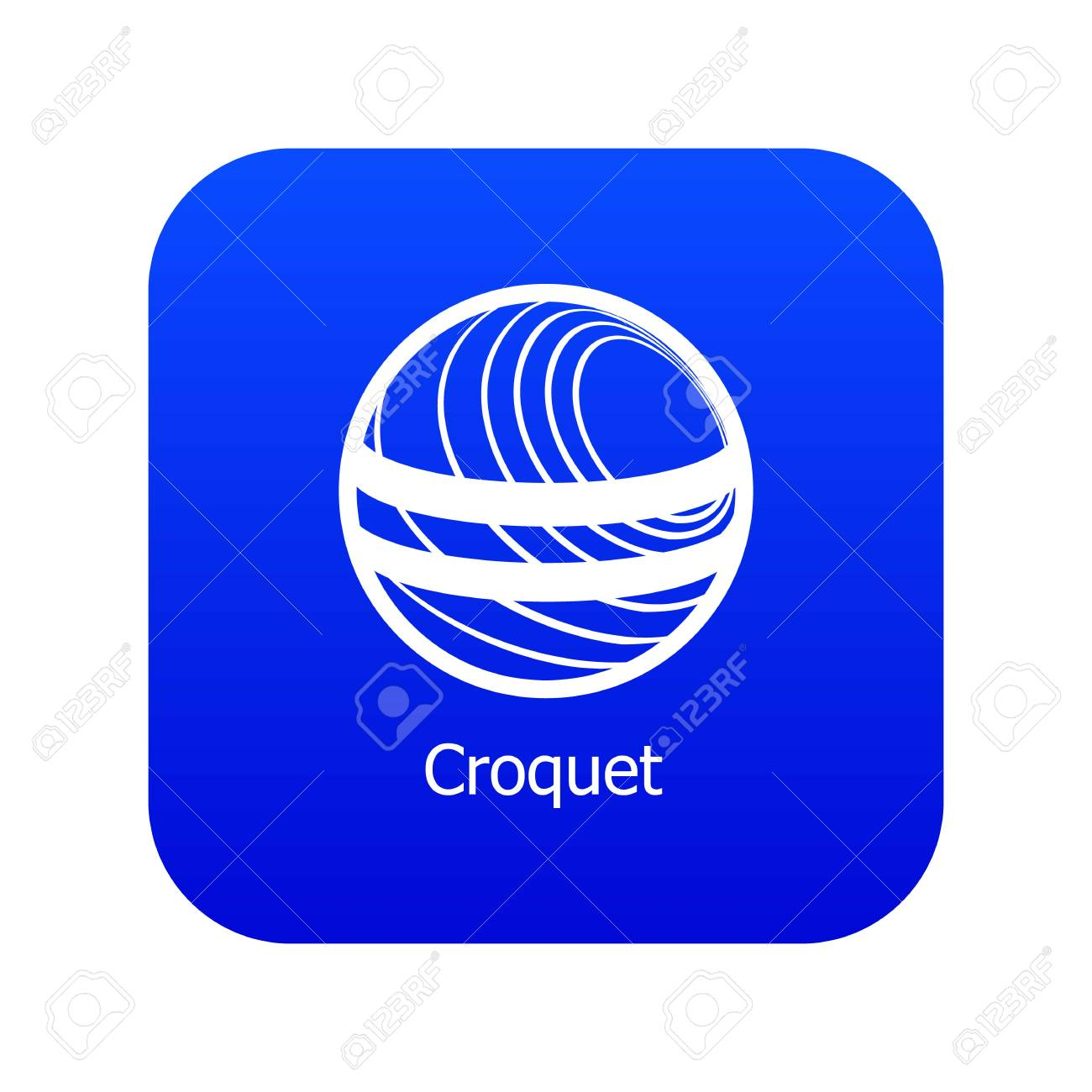 Croquet Icon Blue Vector Isolated On White Background Royalty 1300x1300
