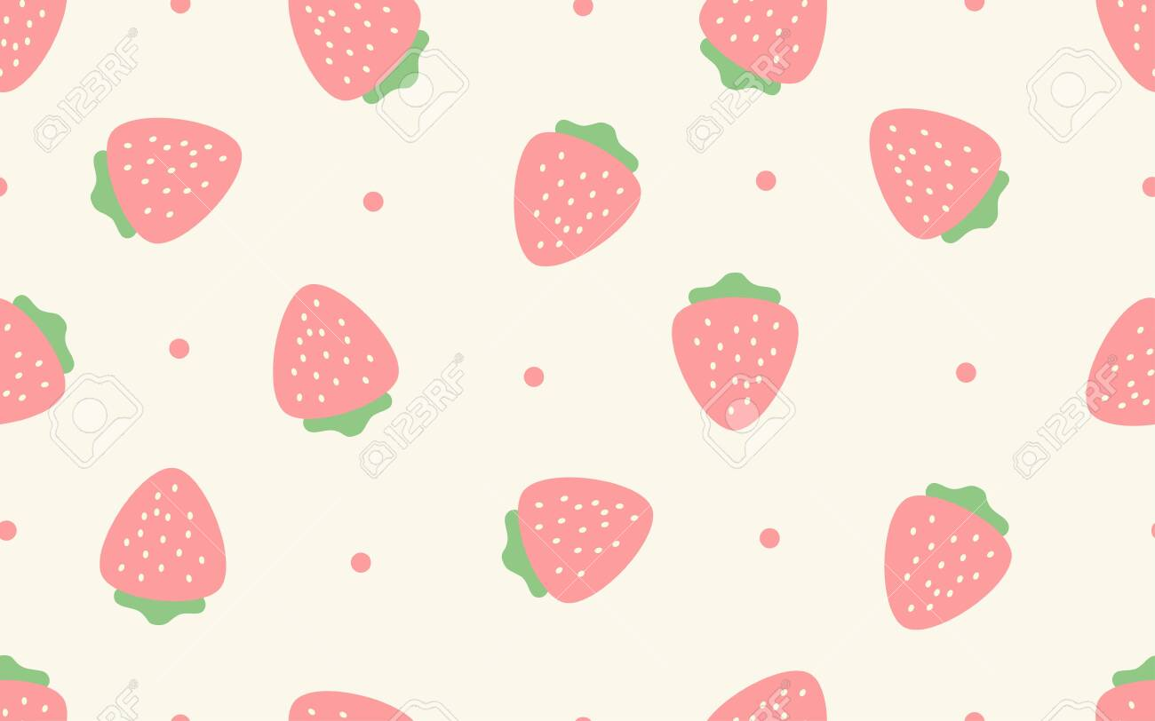 Seamless Pattern Of Pastel Strawberry Background   Vector 1300x812