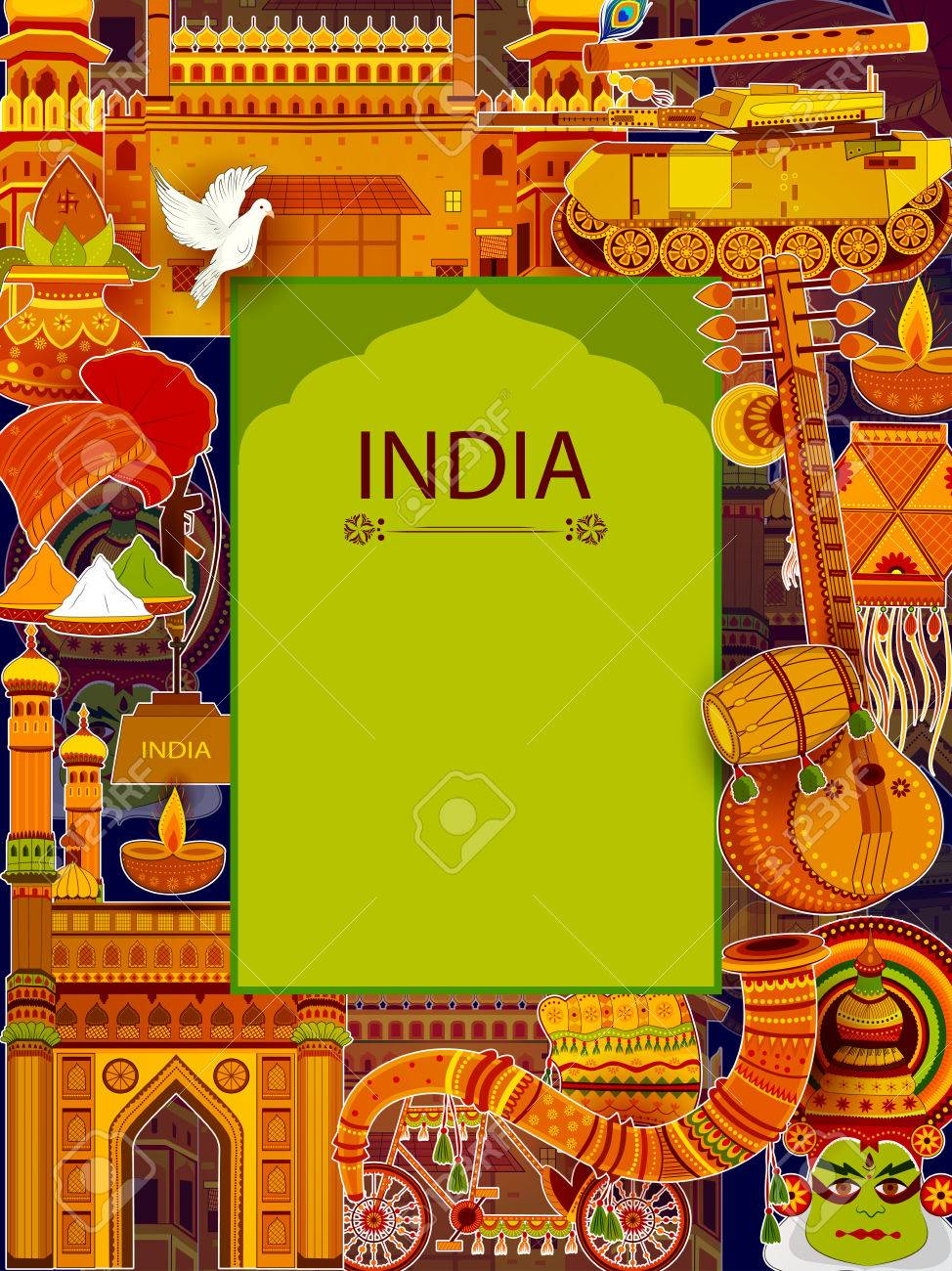 Incredible India Background Depicting Indian Colorful Culture 974x1300
