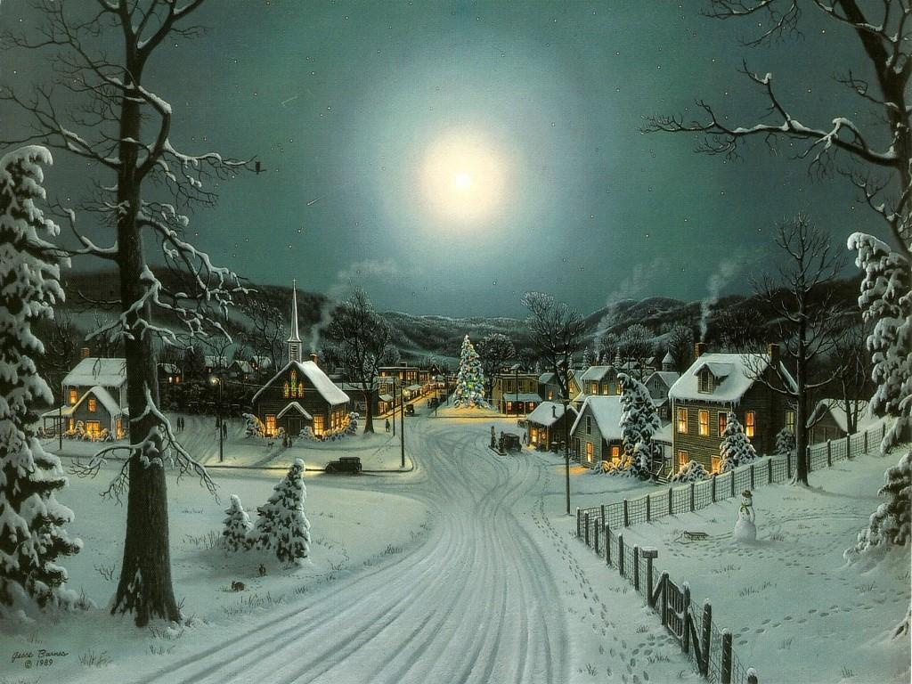 Christmas Landscape Snow Wallpaper 1024x768