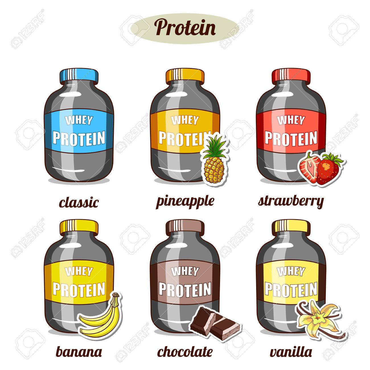 Plastic Jars With Whey Protein Of Different Taste On White 1300x1300
