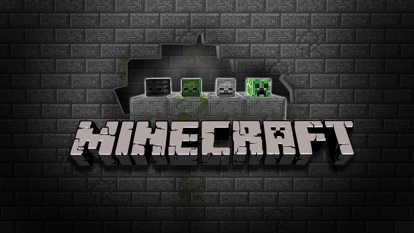 Black a Brick HD Minecraft wallpaper 1366x768
