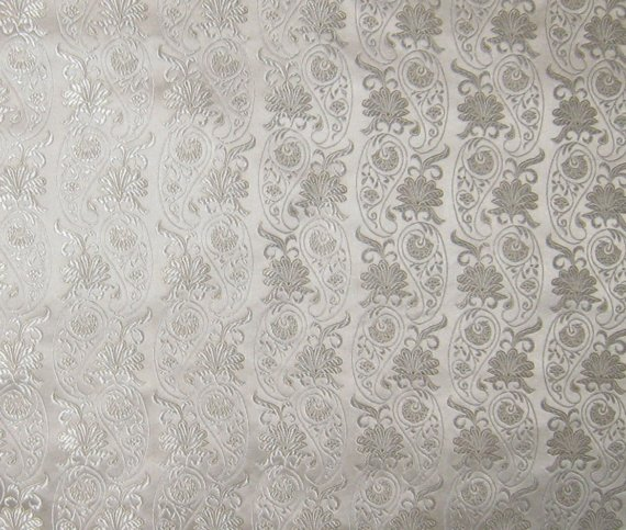 White WALLPAPER Floral Silk Brocade Fabric by silkfabric on Etsy 570x483