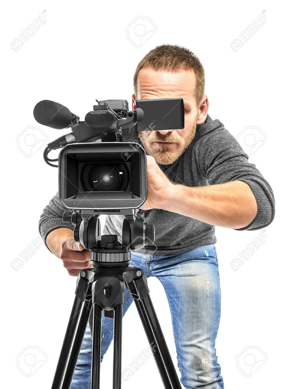 Video Camera Operator Filmed Isolated On White Background Stock 1004x1300